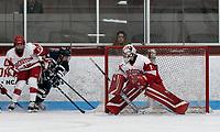 BOSTON, MA - FEBRUARY 16: Kate Stuart #1 of Boston University during a game between University of New Hampshire and Boston University at Walter Brown Arena on February 16, 2020 in Boston, Massachusetts.