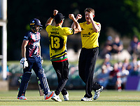 Josh Shaw (R) of Gloucestershire is congratulated by Benny Howell after bowling Ollie Robertson (L) during Kent Spitfires vs Gloucestershire, Vitality Blast T20 Cricket at The Spitfire Ground on 13th June 2021