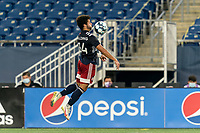 FOXBOROUGH, MA - AUGUST 7: Ryan Spaulding #34 of New England Revolution II traps the ball during a game between Orlando City B and New England Revolution II at Gillette Stadium on August 7, 2020 in Foxborough, Massachusetts.