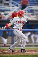 Auburn Doubledays right fielder Kameron Esthay (15) hits a single in the top of the second inning during a game against the Batavia Muckdogs on July 6, 2017 at Dwyer Stadium in Batavia, New York.  Auburn defeated Batavia 4-3.  (Mike Janes/Four Seam Images)