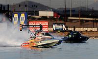 Nov. 22, 2008; Chandler, AZ, USA; IHBA top alcohol flatbottom driver Johnny Heidemann (near lane) races Mark Porter during the Napa Auto Parts World Finals at Firebird Lake. Mandatory Credit: Mark J. Rebilas-