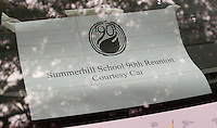 Sign in the back window of the courtesy car.  Reunion for Summerhill School's 90th birthday celebrations.