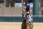July 10, 2020: Umberto Rispoli celebrates winning his first ever ride on Opening Day at Del Mar Race Track in Del Mar, California on July 10, 2020. Alex Evers/Eclipse Sportswire/CSM