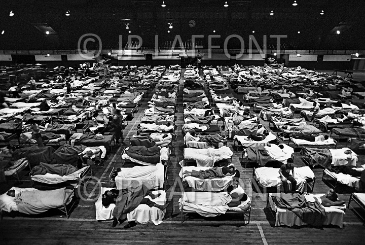Manhattan, New York City, NY. 1986.<br /> Fort Washington shelter for the homeless.