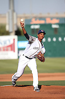Albert Abreu (33) of the Lancaster JetHawks pitches against the Inland Empire 66ers at The Hanger on September 3, 2016 in Lancaster, California. Lancaster defeated Inland Empire, 7-6. (Larry Goren/Four Seam Images)