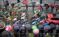 Maglia Rosa / overall leader Primoz Roglic (SVK/Jumbo-Visma) leading the peloton out of Frascati at the start of a super rainy stage 5<br /> <br /> Stage 5: Frascati to Terracina (140km)<br /> 102nd Giro d'Italia 2019<br /> <br /> ©kramon