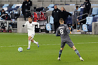 ST PAUL, MN - OCTOBER 28: Nicolas Benezet #9 of Colorado Rapids goes to pass the ball during a game between Colorado Rapids and Minnesota United FC at Allianz Field on October 28, 2020 in St Paul, Minnesota.