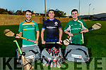 Andrew Morrissey, Diarmuid Brennan (Captain) and Barry Lyons from Tralee Parnells receive Gear bags from Lee Strand for their  County Intermediate Hurling championship final