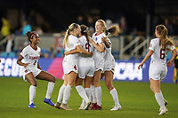 SAN JOSE, CA - DECEMBER 6: Sophia Smith #9 of the Stanford Cardinal celebrates with teammates during a game between UCLA and Stanford Soccer W at Avaya Stadium on December 6, 2019 in San Jose, California.