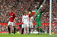 Pictured: (L-R) Robin van Persie, Pablo Hernandez, David De Gea.<br /> Sunday 12 May 2013<br /> Re: Barclay's Premier League, Manchester City FC v Swansea City FC at the Old Trafford Stadium, Manchester.