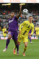 30th May 2021; Auckland, New Zealand;  Daryl Lachman (L) and Ben Waine chase the loose ball. Wellington Phoenix versus Perth Glory, A-League football at Eden Park.