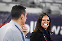 JACKSONVILLE, FL - NOVEMBER 10: Vlatko Andonovski and Kate Markgraf of the United States women's national team chat together during a game between Costa Rica and USWNT at TIAA Bank Field on November 10, 2019 in Jacksonville, Florida.