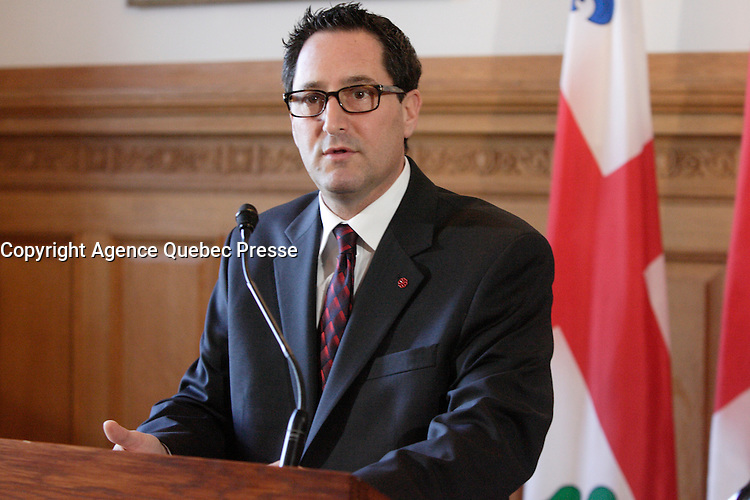 February 2013 File Photo - Michael Applebaum, Mayor of Montreal speak at City hall. He resigned later in 2013 following his arrestation on charges of corruption.