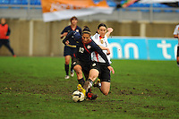 USA's Carli Lloyd and Germany's Birgit Prinz battle for control of the ball.  The USA captured the 2010 Algarve Cup title by defeating Germany 3-2, at Estadio Algarve on March 3, 2010.