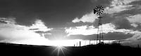 Windmill and thunderstrom at sunset. The Palouse, Washington.