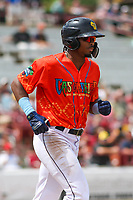 Wisconsin Timber Rattlers outfielder Joe Gray, Jr. (6) during a game against the Quad Cities River Bandits on July 11, 2021 at Neuroscience Group Field at Fox Cities Stadium in Grand Chute, Wisconsin.  (Brad Krause/Four Seam Images)