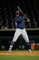AZL Padres 1 Yerry Landinez (27) at bat during an Arizona League game against the AZL Cubs 1 on July 5, 2019 at Sloan Park in Mesa, Arizona. The AZL Cubs 1 defeated the AZL Padres 1 9-3. (Zachary Lucy/Four Seam Images)