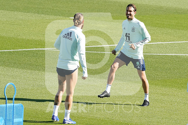 Spain's Jose Campana (r) and Sergio Ramos during training session. October 6,2020.(ALTERPHOTOS/Acero)