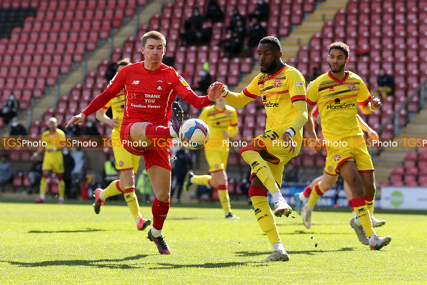 Sam Ling of Leyton Orient and Emmanuel Osadebe of Walsall during Leyton Orient vs Walsall, Sky Bet EFL League 2 Football at The Breyer Group Stadium on 5th April 2021