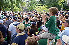 Sept. 19, 2015; Fans line the Library quad for the football team walk before the football game against Georgia Tech. (Photo by Matt Cashore)