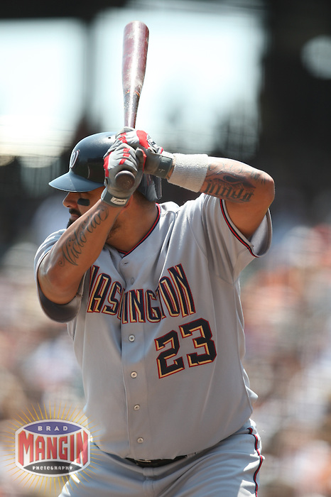 SAN FRANCISCO - JULY 24:  Johnny Estrada of the Washington Nationals bats during the game against the San Francisco Giants at AT&T Park in San Francisco, California on July 24, 2008.  The Giants defeated the Nationals 1-0.  Photo by Brad Mangin
