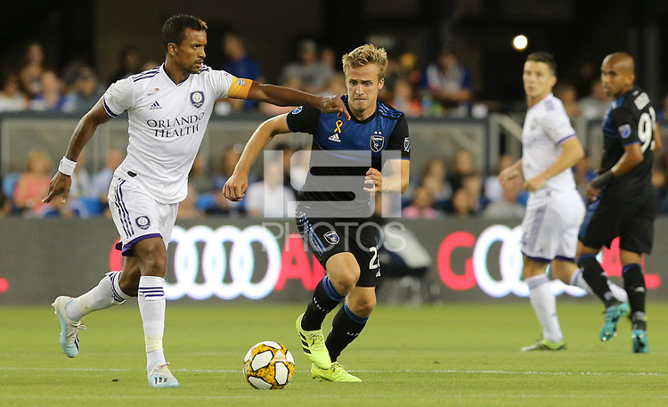 SAN JOSE, CA - AUGUST 31: Nani of Orlando City and Tommy Thompson of the San Jose Earthquakes during a Major League Soccer (MLS) match between the San Jose Earthquakes and the Orlando City SC  on August 31, 2019 at Avaya Stadium in San Jose, California.