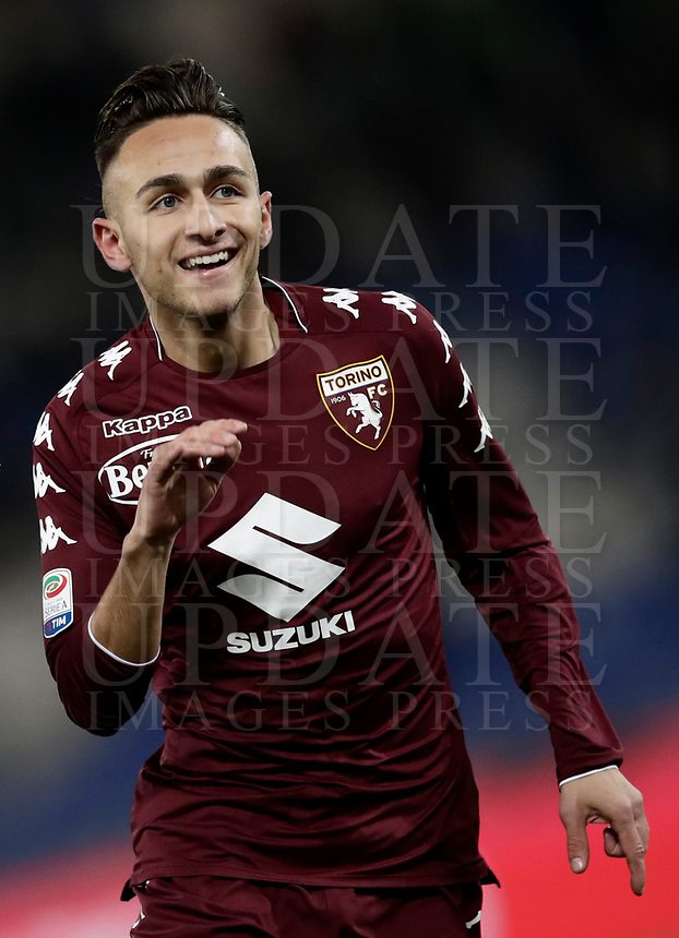 Calcio, Serie A: Roma, stadio Olimpico, 11 dicembre 2017.<br /> Torino's Simone Edera celebrates after scoring during the Italian Serie A football match between Lazio and Torino at Rome's Olympic stadium, December 11, 2017.<br /> UPDATE IMAGES PRESS/Isabella Bonotto