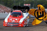 Aug. 18, 2013; Brainerd, MN, USA: NHRA funny car driver Tim Wilkerson during the Lucas Oil Nationals at Brainerd International Raceway. Mandatory Credit: Mark J. Rebilas-