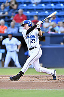 Asheville Tourists designated hitter Tyler Nevin (23) swings at a pitch during a game against the Greenville Drive at McCormick Field on September 5, 2017 in Asheville, North Carolina. The Tourists defeated the Drive 4-2. (Tony Farlow/Four Seam Images)