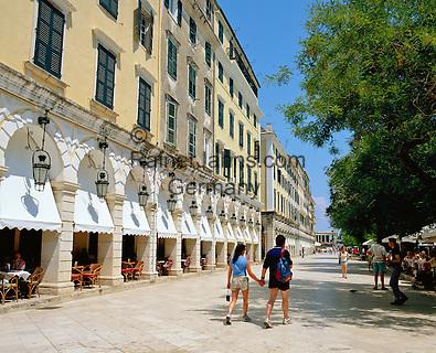 Greece, Corfu, Corfu-Town (Kerkyra): Esplanade (Spianada) & the Liston   Griechenland, Korfu, Korfu-Stadt (Kerkyra): Esplanade (Spianada) und der Liston