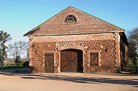 One of the vineyard buildings built in brick and stone. Bodega Juanico Familia Deicas Winery, Juanico, Canelones, Uruguay, South America