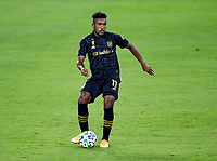 LOS ANGELES, CA - SEPTEMBER 23: Jose Cifuentes #11 of LAFC moves with the ball during a game between Vancouver Whitecaps and Los Angeles FC at Banc of California Stadium on September 23, 2020 in Los Angeles, California.