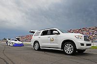 Aug. 19, 2011; Brainerd, MN, USA: NHRA funny car driver Melanie Troxel during qualifying for the Lucas Oil Nationals at Brainerd International Raceway. Mandatory Credit: Mark J. Rebilas-