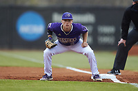 Western Carolina Catamounts first baseman Daylan Nanny (9) on defense against the St. John's Red Storm at Childress Field on March 12, 2021 in Cullowhee, North Carolina. (Brian Westerholt/Four Seam Images)