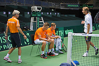 Switserland, Genève, September 16, 2015, Tennis,   Davis Cup, Switserland-Netherlands, Practise Dutch team, Tim van Rijthoven  and Tallon Griekspoor with coach Martin Bohm (L) and Captain Jan Siemerink<br /> Photo: Tennisimages/Henk Koster