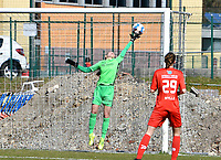 goalkeeper Josephine Delvaux (1) of KRC Genk pictured during a female soccer game between FC Femina White Star Woluwe and KRC Genk on the 17 th matchday of the 2020 - 2021 season of Belgian Scooore Womens Super League , Saturday 20 th of March 2021  in Woluwe , Belgium . PHOTO SPORTPIX.BE | SPP | JILL DELSAUX