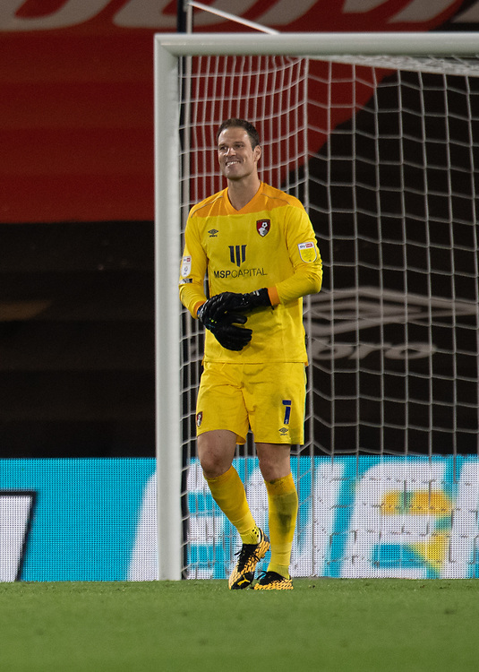 Bournemouth's Asmir Begovic smiles after after Palace's after saving Palace's Milivojevic  penalty kick to give the Cheery's a 11-10 win on penalties<br /> <br /> Photographer David Horton/CameraSport<br /> <br /> Carabao Cup Second Round Southern Section - Bournemouth v Crystal Palace - Tuesday 15th September 2020 - Vitality Stadium - Bournemouth<br />  <br /> World Copyright © 2020 CameraSport. All rights reserved. 43 Linden Ave. Countesthorpe. Leicester. England. LE8 5PG - Tel: +44 (0) 116 277 4147 - admin@camerasport.com - www.camerasport.com