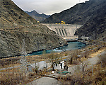 The military are on duty. They guard the entrance to the Kambarata HPP. It contains 49 million cubic meters of water. Kyrgyzstan. 2012