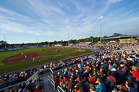 General view of a Batavia Muckdogs game against the Brooklyn Cyclones on July 4, 2016 at Dwyer Stadium in Batavia, New York.  Brooklyn defeated Batavia 5-1.  (Mike Janes/Four Seam Images)