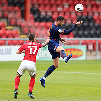 Blackpool's Gary Madine wins a header under pressure from Crewe Alexandra's Luke Offord<br /> <br /> Photographer Rich Linley/CameraSport<br /> <br /> The EFL Sky Bet League One - Crewe Alexandra v Blackpool - Saturday 17th October 2020 - Gresty Road - Crewe<br /> <br /> World Copyright © 2020 CameraSport. All rights reserved. 43 Linden Ave. Countesthorpe. Leicester. England. LE8 5PG - Tel: +44 (0) 116 277 4147 - admin@camerasport.com - www.camerasport.com