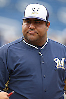 AZL Brewers Manager Nestor Corridor before a game against the AZL Athletics at Maryvale Baseball Park on June 30, 2015 in Phoenix, Arizona. Brewers defeated Athletics, 4-2. (Larry Goren/Four Seam Images)