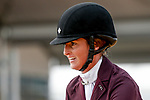 October 17, 2021: Emily Hamel (USA), aboard Corvett, reacts after competing during the Stadium Jumping Final at the 5* level during the Maryland Five-Star at the Fair Hill Special Event Zone in Fair Hill, Maryland on October 17, 2021. Jon Durr/Eclipse Sportswire/CSM