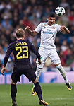 Carlos Henrique Casemiro of Real Madrid (top) fights for the ball with Christian Eriksen of Tottenham Hotspur FC (bottom) during the UEFA Champions League 2017-18 match between Real Madrid and Tottenham Hotspur FC at Estadio Santiago Bernabeu on 17 October 2017 in Madrid, Spain. Photo by Diego Gonzalez / Power Sport Images