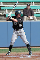 Jimmy Allen #15 of the Cal Poly Mustangs bats against the Loyola Marymount Lions at Page Stadium on February 25, 2012 in Los Angeles,California. Cal Poly defeated LMU 12-5.(Larry Goren/Four Seam Images)