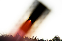 The solar eclipse seen through a film strip. Reykjavik, Iceland