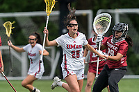 NEWTON, MA - MAY 14: Fiona McGowan #25 of University of Massachusetts celebrates her goal during NCAA Division I Women's Lacrosse Tournament first round game between University of Massachusetts and Temple University at Newton Campus Lacrosse Field on May 14, 2021 in Newton, Massachusetts.
