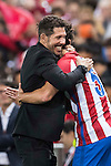 Tiago Cardoso Mendes of Atletico de Madrid celebrates with coach Diego Simeone during their La Liga match between Atletico de Madrid and Granada CF at the Vicente Calderon Stadium on 15 October 2016 in Madrid, Spain. Photo by Diego Gonzalez Souto / Power Sport Images