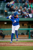 South Bend Cubs third baseman Zack Short (3) at bat during a game against the Clinton LumberKings on May 5, 2017 at Four Winds Field in South Bend, Indiana.  South Bend defeated Clinton 7-6 in nineteen innings.  (Mike Janes/Four Seam Images)