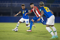 08th June 2021; Defensores del Chaco Stadium, Asuncion, Paraguay; World Cup football 2022 qualifiers; Paraguay versus Brazil;   Júnior Alonso of Paraguay and Neymar of Brazil