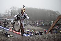 Wout Van Aert (BEL/Crelan-Vastgoedservice) up the 44 steps<br /> <br /> Grand Prix Adrie van der Poel, Hoogerheide 2016<br /> UCI CX World Cup